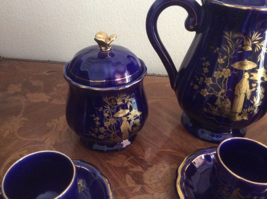 Vintage French Gien Faience Cobalt Blue Amp Gold Chinoiserie