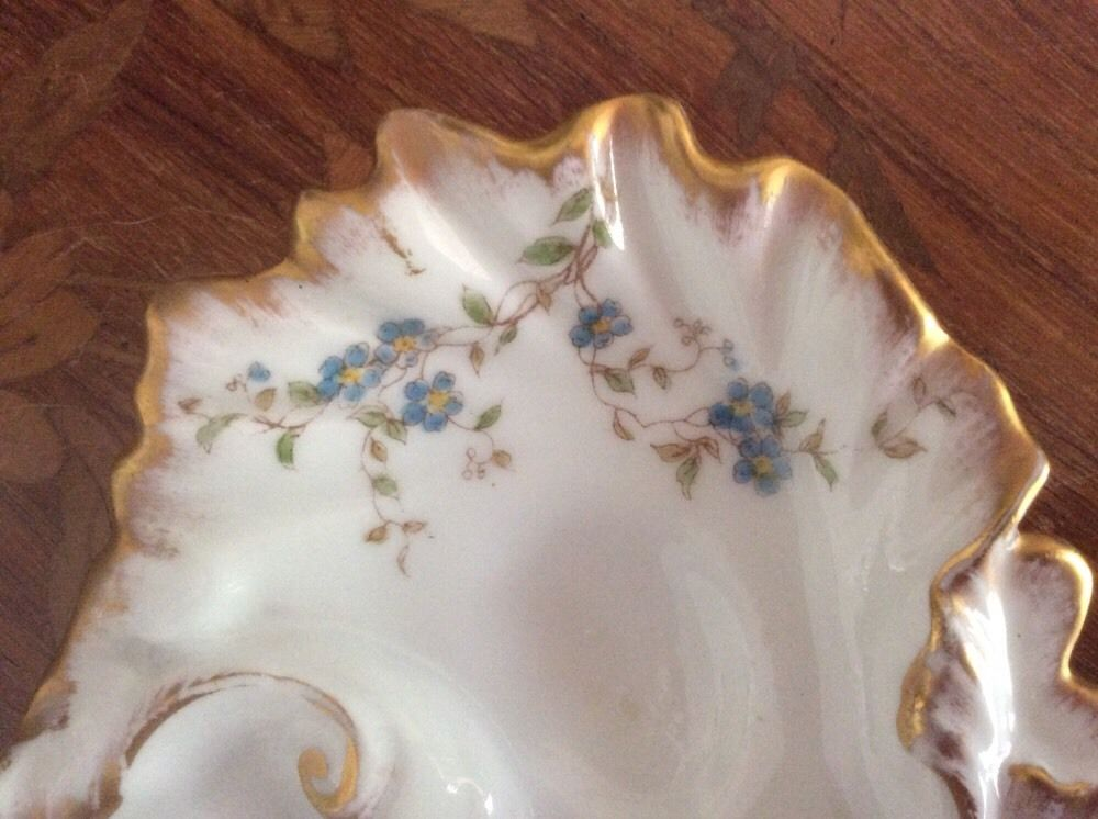 Rare Oyster Plate Antique Victorian Limoges 3 Well Lady/'s Oyster Plate op306